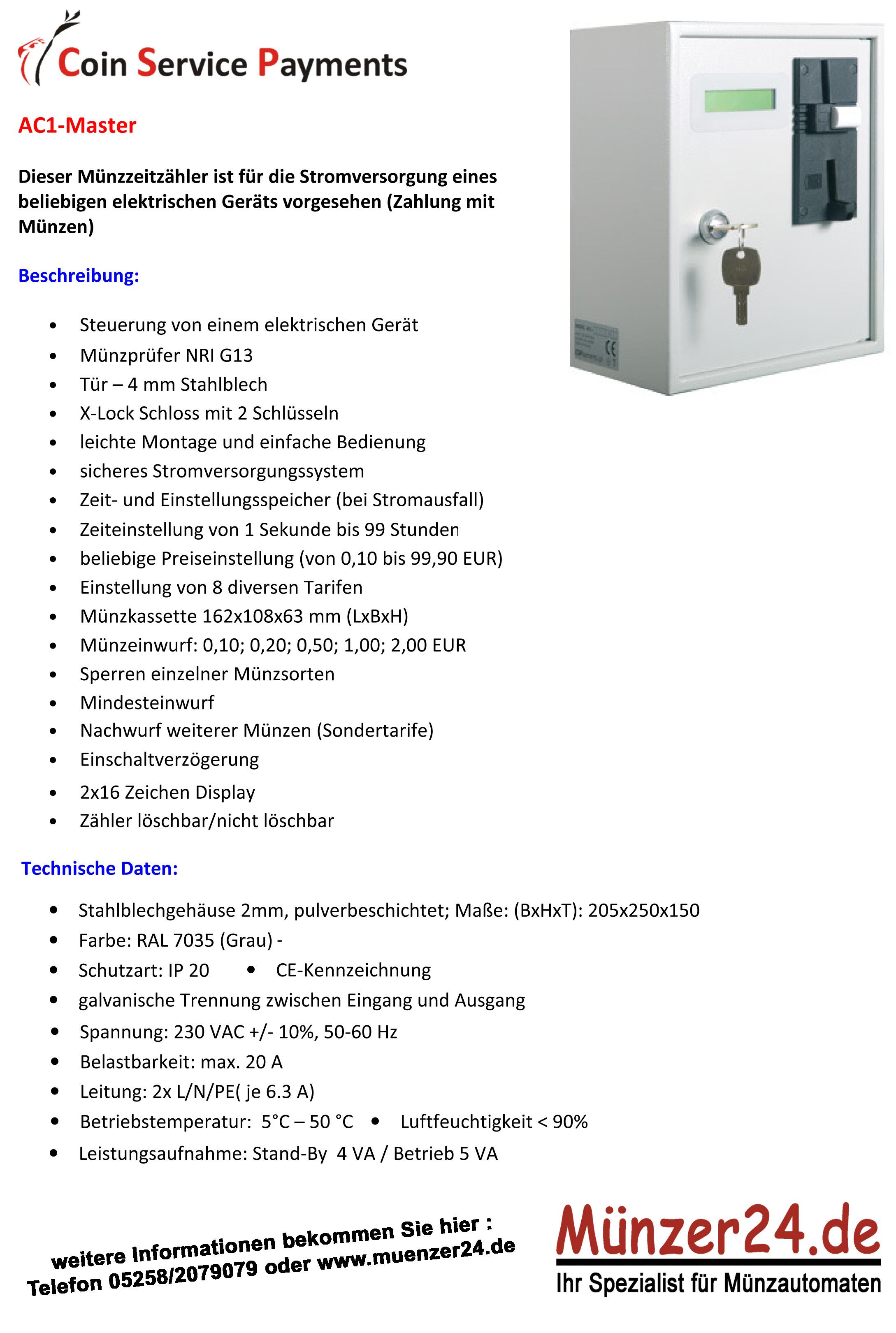 Prospekt Münzautomat CSP Master