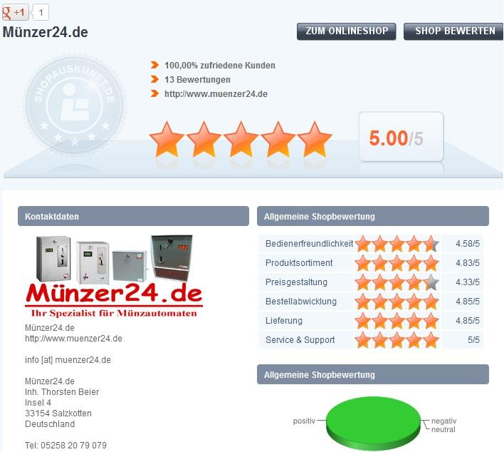 Top - Bewertungen von Münzer 24.de bei Shopauskunft.de