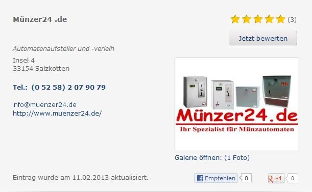 Top - Bewertungen von M�nzer 24.de bei Klick Tel