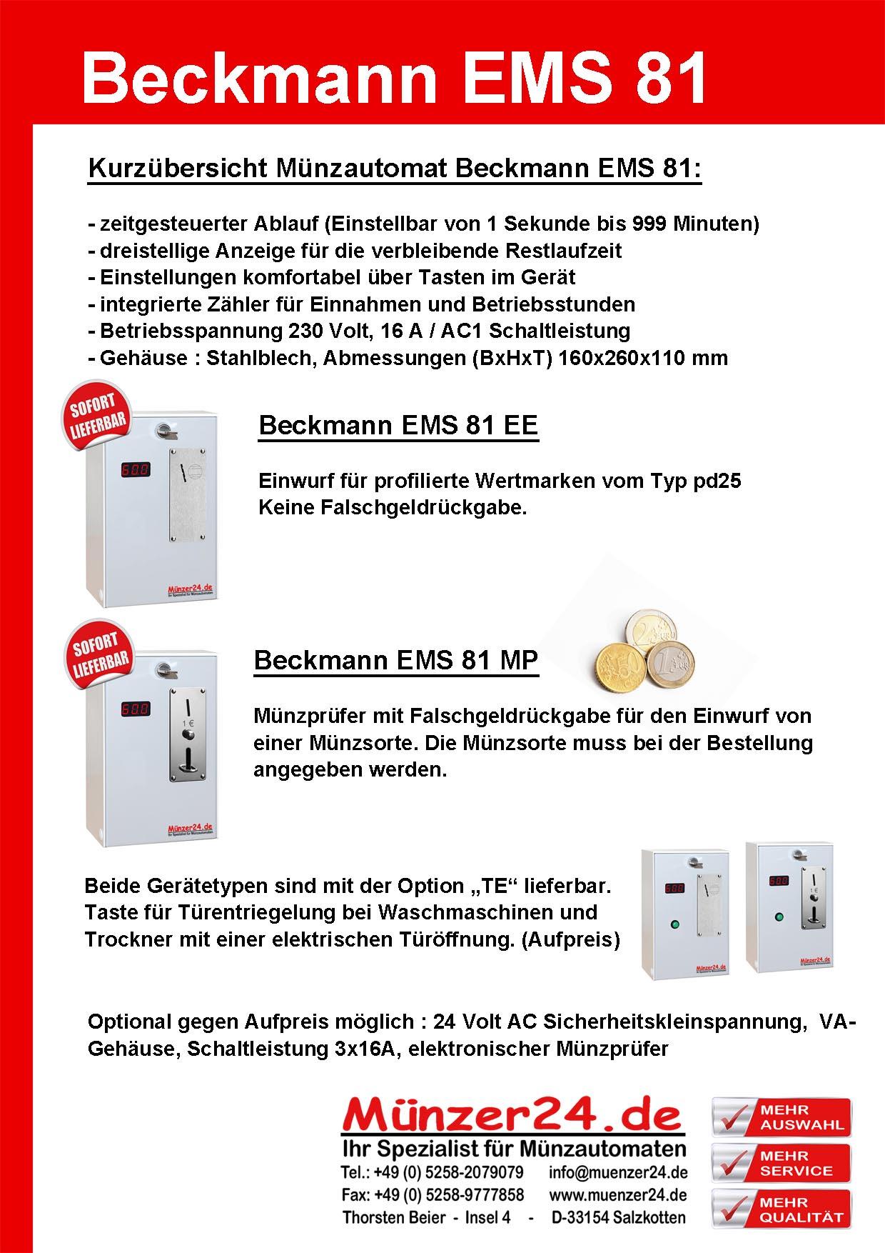 Münzkassierer Beckmann EMS 81