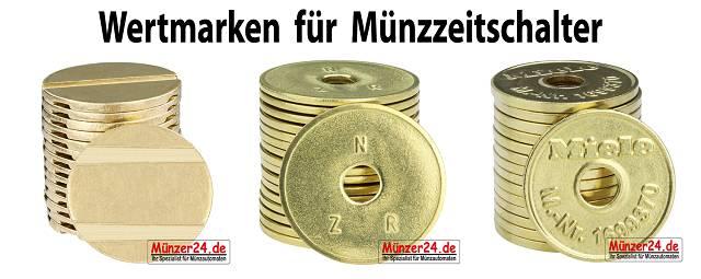 Wertmarken für Münzzeitschalter